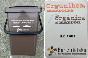 Pozal para llevar el material orgánico / Tarjeta para abrir el 5º contenedor